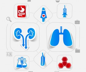 Medicine infographic with sticker vector set 01