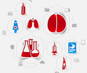 Medicine infographic with sticker vector set 03
