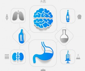 Medicine infographic with sticker vector set 10
