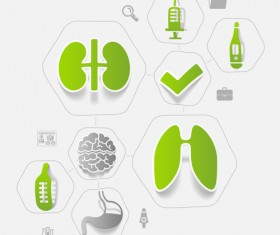 Medicine infographic with sticker vector set 12