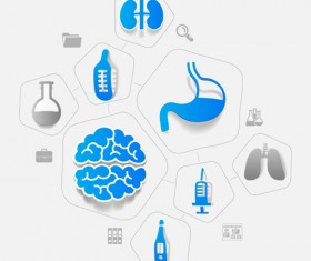 Medicine infographic with sticker vector set 13