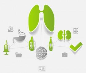 Medicine infographic with sticker vector set 16