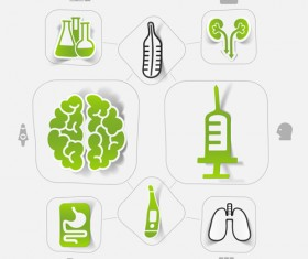 Medicine infographic with sticker vector set 19