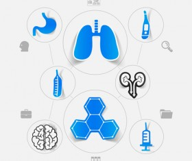 Medicine infographic with sticker vector set 20