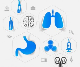 Medicine infographic with sticker vector set 21