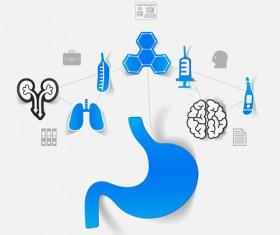 Medicine infographic with sticker vector set 25
