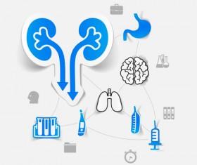 Medicine infographic with sticker vector set 27