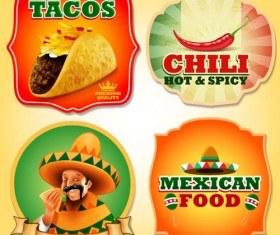 Mexican food with tacos and chili labels vector