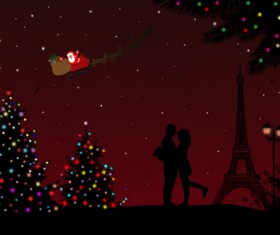 Night paris with lovers vector set 13