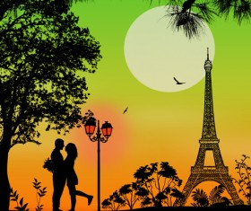 Night paris with lovers vector set 16