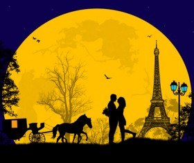 Night paris with lovers vector set 17