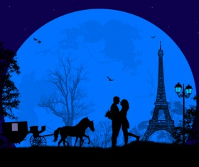 Night paris with lovers vector set 18