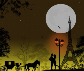Night paris with lovers vector set 19