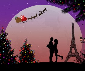 Night paris with lovers vector set 20