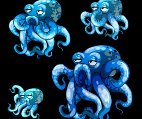 Octopus catoon character vector 01