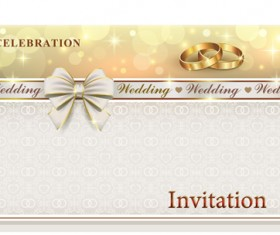 Ornate wedding invitation with gold ring vector