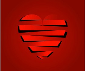 Paper cut heart valentines day red vector