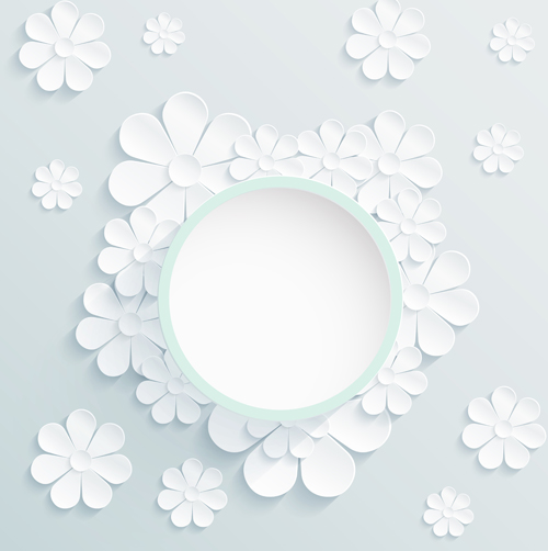 Paper Flowers Art Background Vector 02 Free Download