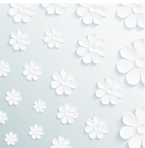 Paper Flowers Art Background Vector 03 Free Download