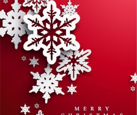 Paper snowflake with christmas red background vector 02