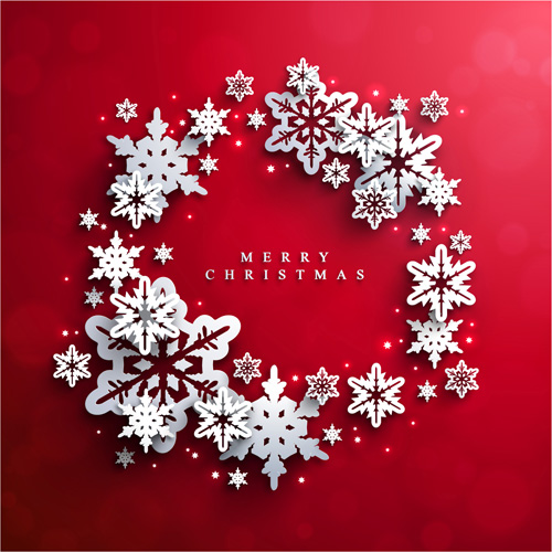 Christmas Red.Paper Snowflake With Christmas Red Background Vector 03 Free