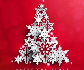 Paper snowflake with christmas red background vector 05
