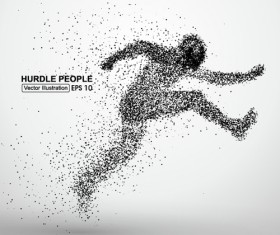 Particle composition athlete vector illustration 02