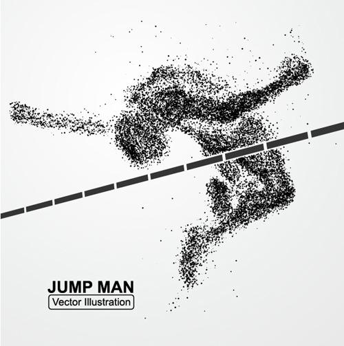 Particle composition athlete vector illustration 05