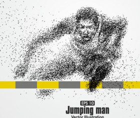 Particle composition athlete vector illustration 12