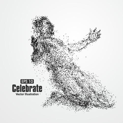 Particle composition athlete vector illustration 16