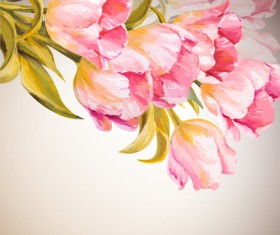 Pink flower hand drawn backgrounds vector 02