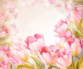 Pink flower hand drawn backgrounds vector 04