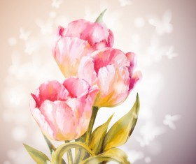 Pink flower hand drawn backgrounds vector 05
