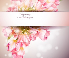 Pink flower hand drawn backgrounds vector 06