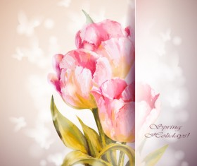 Pink flower hand drawn backgrounds vector 07
