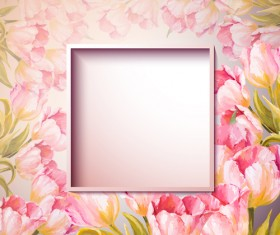 Pink flower hand drawn backgrounds vector 08