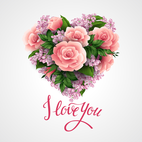 Pink flower with heart valentines day cards vector 01 Vector – Flower Valentine Card
