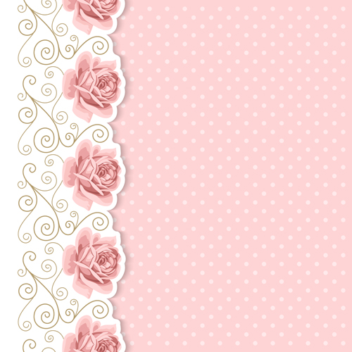 Pink Flower With Vintage Cards Vectors 02 Vector Card