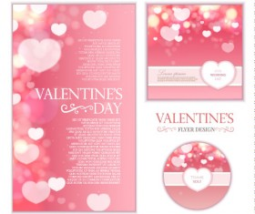 Pink valentines day card kit vector 01
