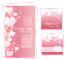 Pink valentines day card kit vector 02