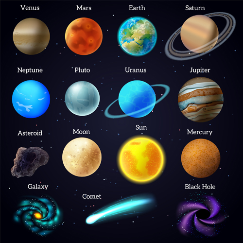 Planets with name vector set 01 free download