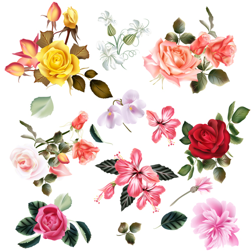 Realistic vector flowers set 02 Vector Flower free download