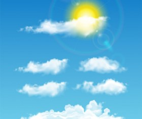 Realistic white cloud illustration vector 01