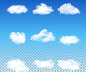 Realistic white cloud illustration vector 02