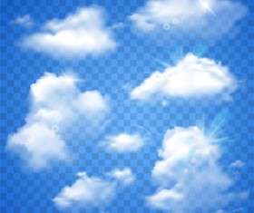 Realistic white cloud illustration vector 03