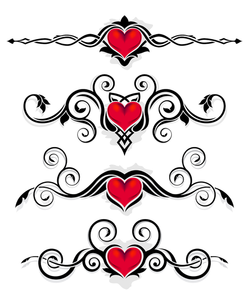 red heart with floral ornaments vector 01 free download