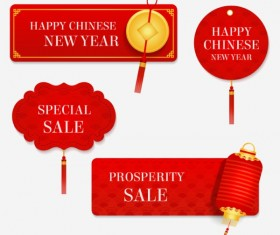 Red new year with sale labels vector