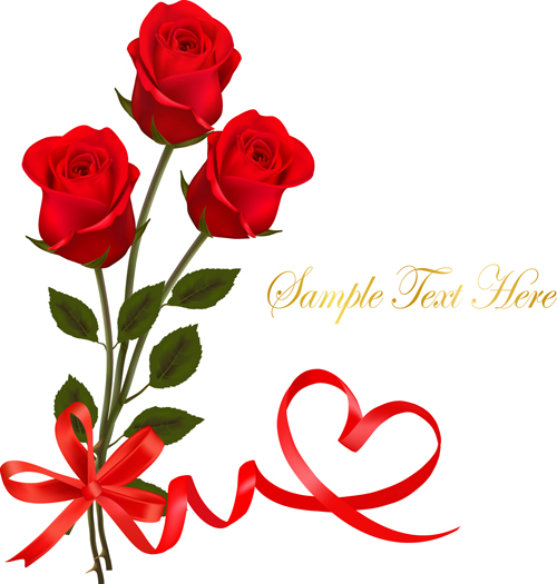 red rose with ribbon valentine day card vector - vector card, Ideas