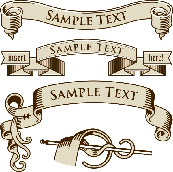Retro banner with ribbon vector material 01 - Vector ...