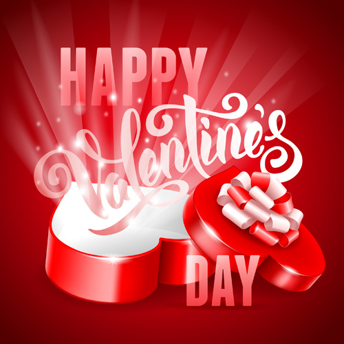 Romantic valentine day gift cards vector 01 Vector Heartshaped – Romantic Valentine Card Images